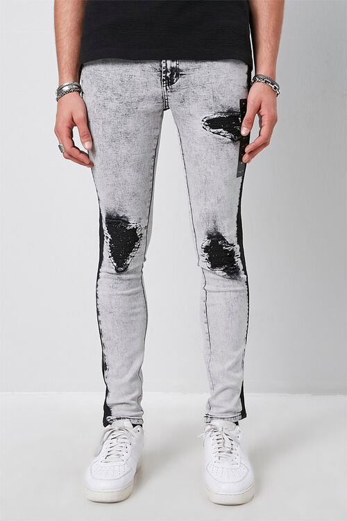 Contrast Wash Distressed Skinny Jeans, image 2