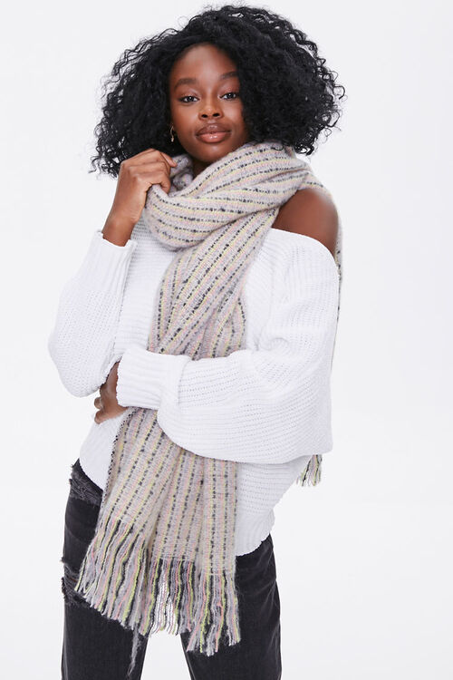 Striped Fringe Oblong Scarf, image 1