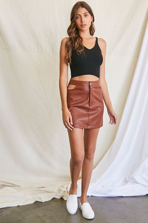 CHOCOLATE Faux Leather Cutout Mini Skirt, image 5
