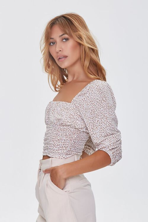 Spotted Print Ruched Top, image 2