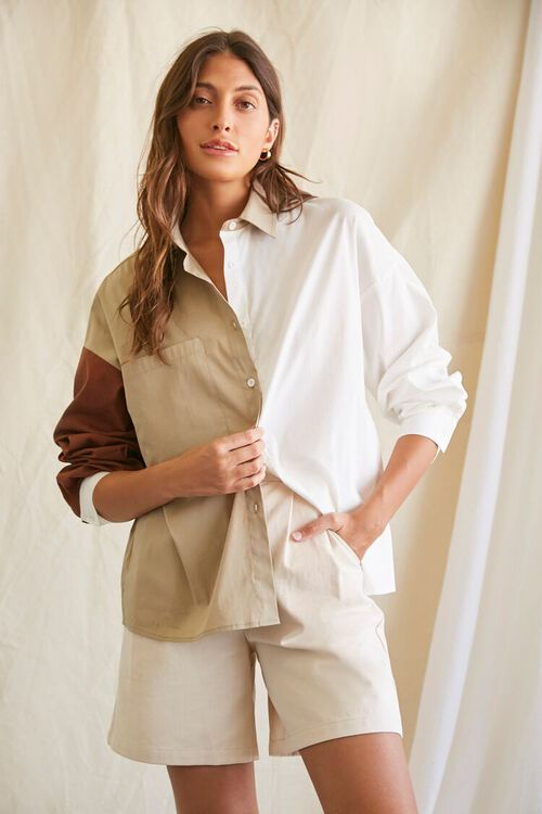 Colorblock Button-Up Shirt, image 1