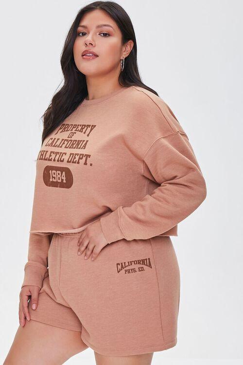 TAUPE/BROWN Plus Size Fleece California Shorts, image 1