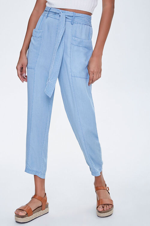 Chambray Tie-Waist Ankle Pants, image 2