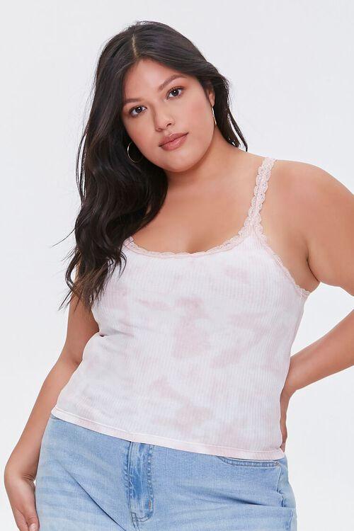 BLUSH/WHITE Plus Size Tie-Dye Cami, image 1