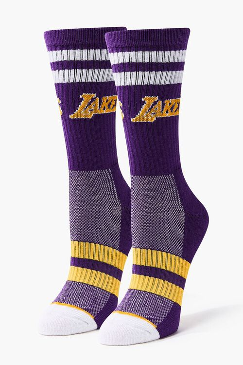 Women Striped Lakers Crew Socks, image 3