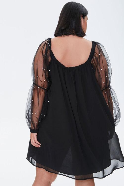 Plus Size Faux Pearl-Sleeve Mini Dress, image 3