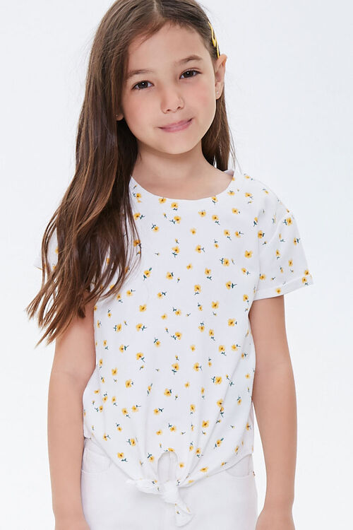 Girls Floral Print Knotted Tee (Kids), image 1