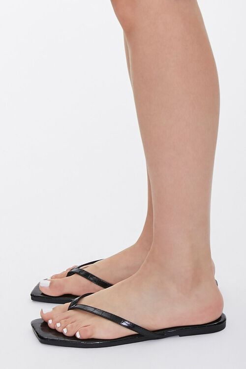Faux Croc Leather Toe-Thong Sandals, image 2