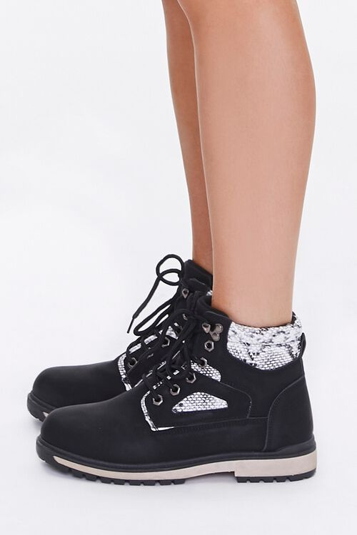 Faux Suede & Snakeskin Ankle Boots, image 2