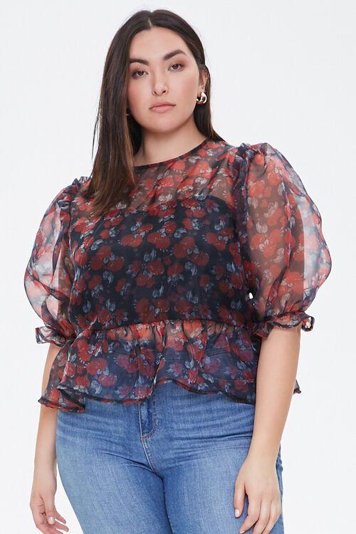 Plus Size Floral Organza Top, image 2