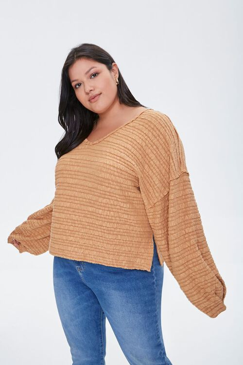 Plus Size Textured V-Neck Top, image 1