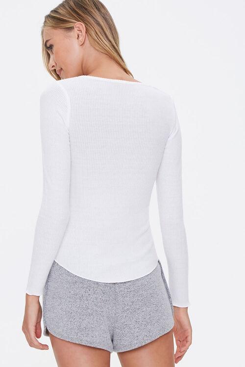 Ribbed Knit Henley Pajama Top, image 3