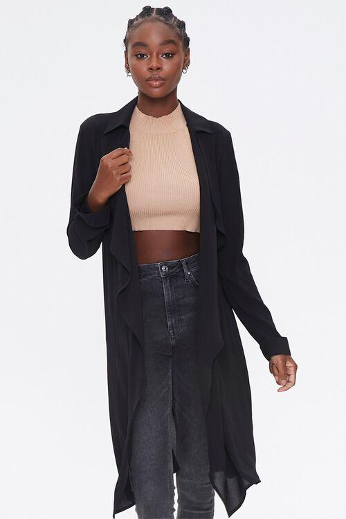 BLACK Crepe Drape-Front Trench Jacket, image 1