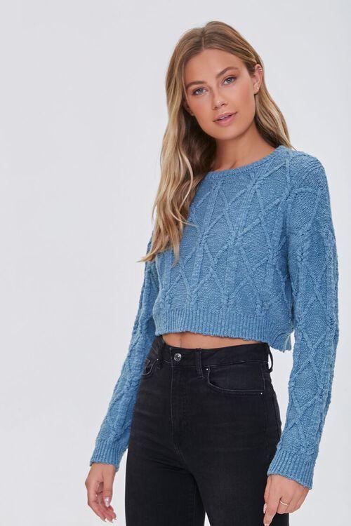 BLUE Cotton-Blend Lattice Sweater, image 1