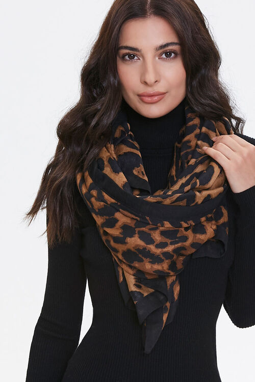 Leopard Print Oblong Scarf, image 1