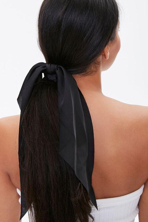 BLACK Woven Bow Scrunchie, image 1