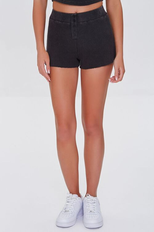 CHARCOAL Waffle Knit Frayed Shorts, image 2