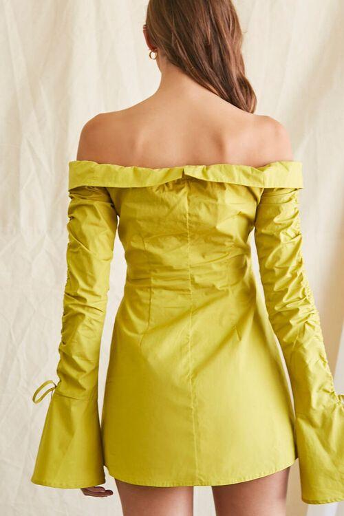 LIME Poplin Off-the-Shoulder Shirt Dress, image 3