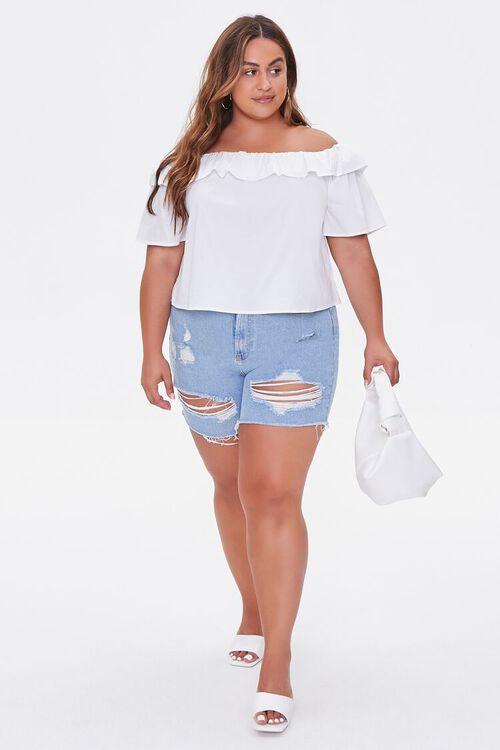 Plus Size Distressed Denim Shorts, image 5