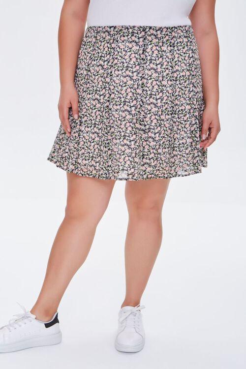 Plus Size Floral Print Mini Skirt, image 2