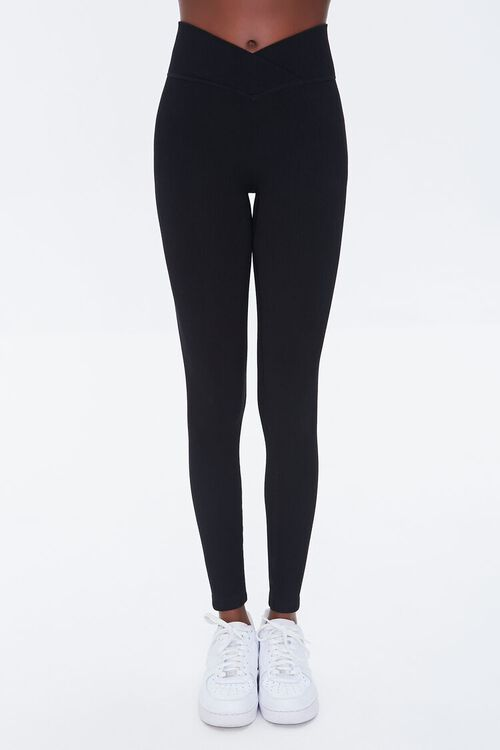 BLACK Active Seamless Notched Leggings, image 2
