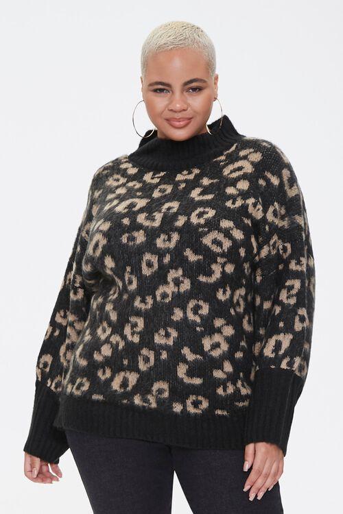 Plus Size Leopard Print Sweater, image 1