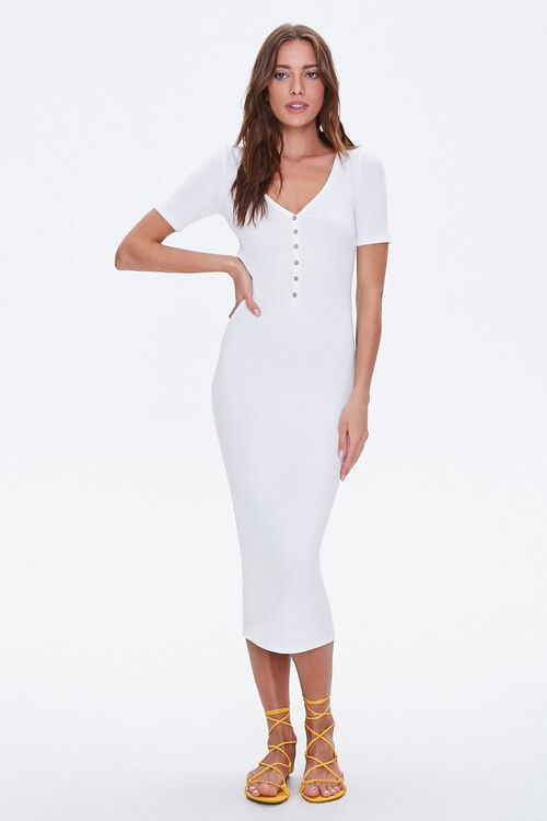Ribbed Button-Front Midi Dress, image 4