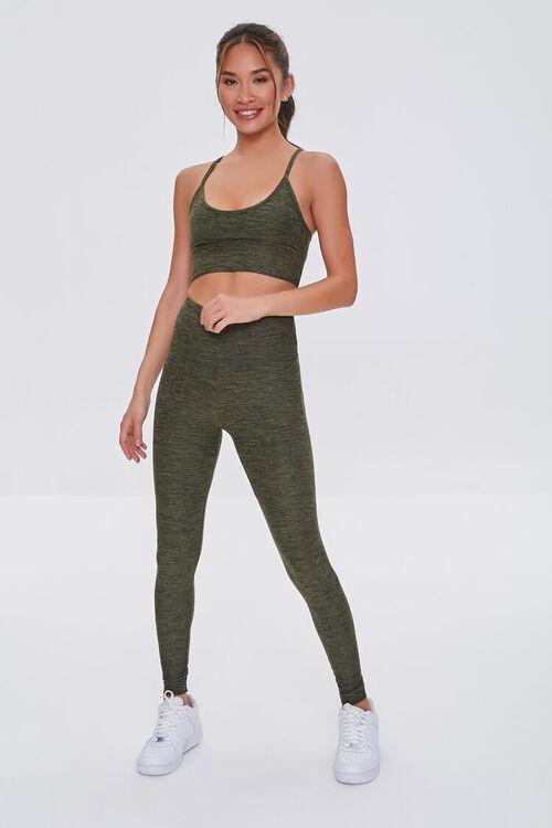 HEATHER OLIVE Active Heathered Leggings, image 1