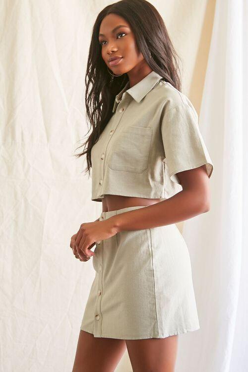 Linen-Blend Shirt & Skirt Set, image 2