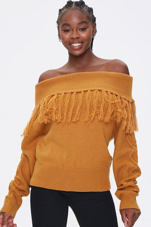 Tassel Off-the-Shoulder Sweater, image 1
