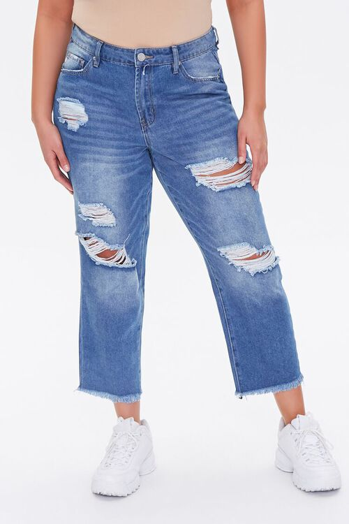 Plus Size Distressed Cropped Jeans, image 2