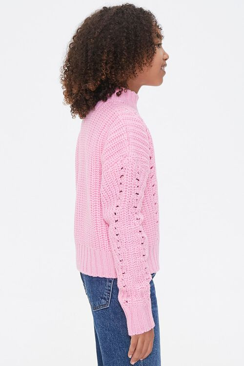 Girls Ribbed Mock Neck Sweater (Kids), image 2