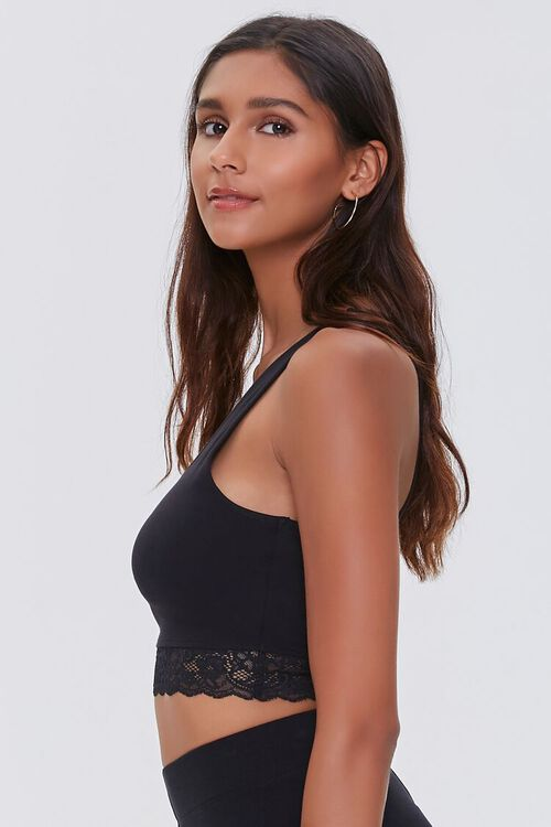 BLACK Lace-Trim Cropped Tank Top, image 2