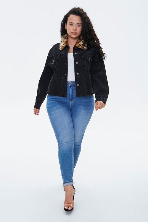 Plus Size Denim Leopard Collar Jacket, image 4