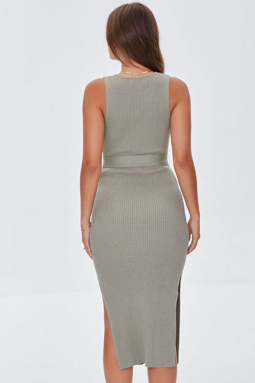 LIGHT OLIVE Belted Ribbed Bodycon Dress, image 3