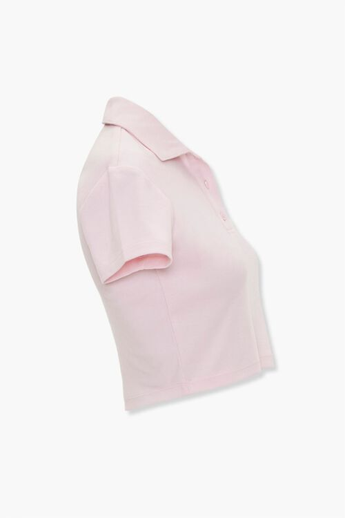 Peach Graphic Cropped Polo Shirt, image 2