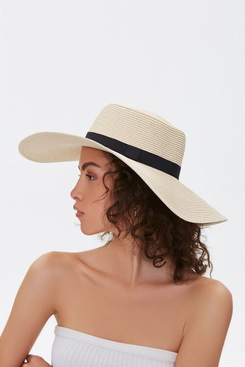 NATURAL/BLACK Faux Straw Floppy Hat, image 2