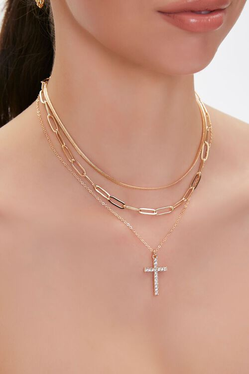 Rhinestone Cross Pendant Layered Necklace, image 1