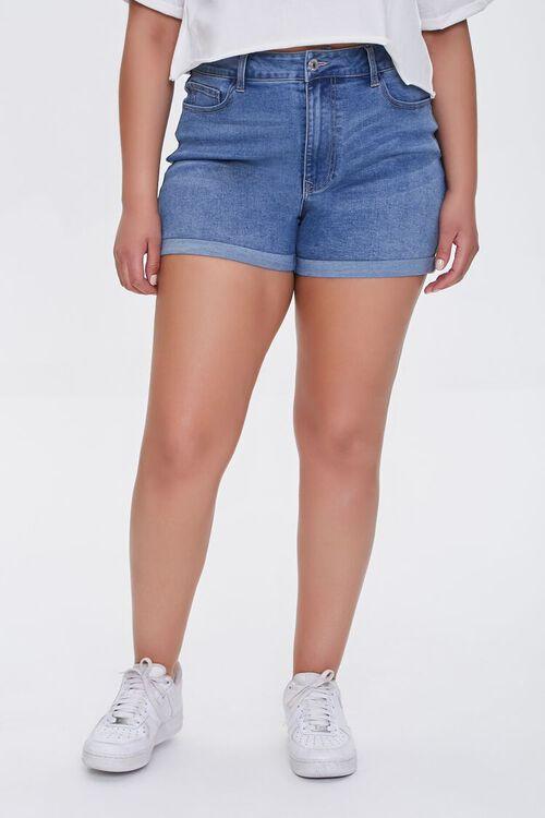 Plus Size Denim Curvy Shorts, image 3