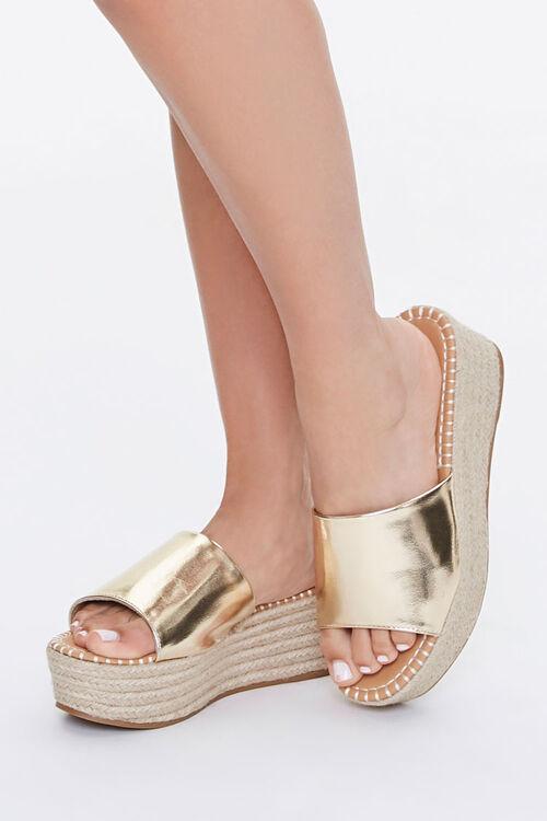 Metallic Espadrille Platform Sandals, image 1