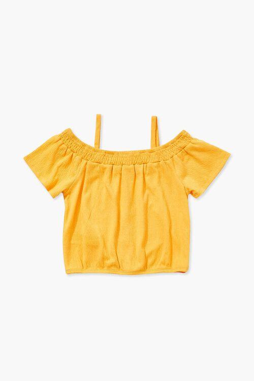 Girls Buttoned Open-Shoulder Top (Kids), image 2