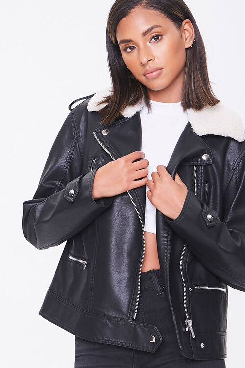 Faux Leather & Shearling Moto Jacket, image 1