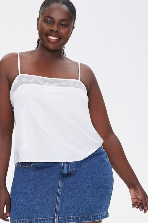 Plus Size Embroidered-Trim Cami, image 1