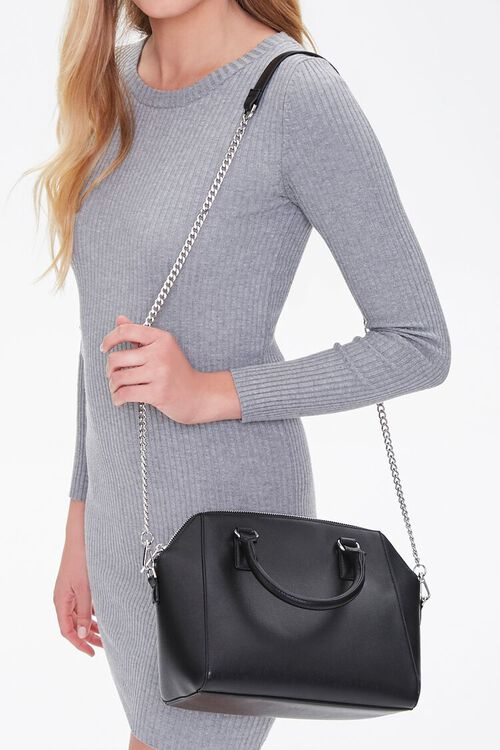 Square Faux Leather Satchel, image 1