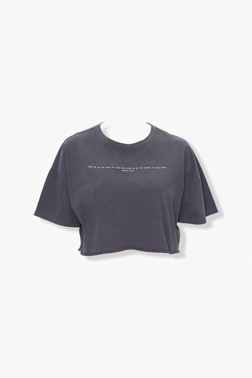 CHARCOAL/WHITE Plus Size Cropped Bible Tee, image 1