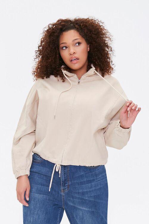 Plus Size Drawstring-Hem Jacket, image 2