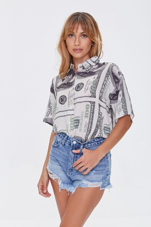 Frayed Denim Shorts, image 1