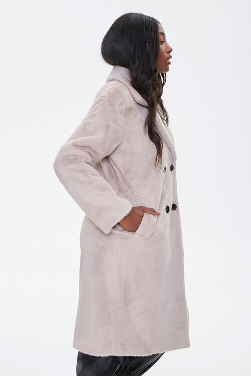 Faux Fur Button-Front Trench Coat, image 2