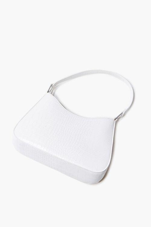 WHITE Faux Croc Leather Shoulder Bag, image 2