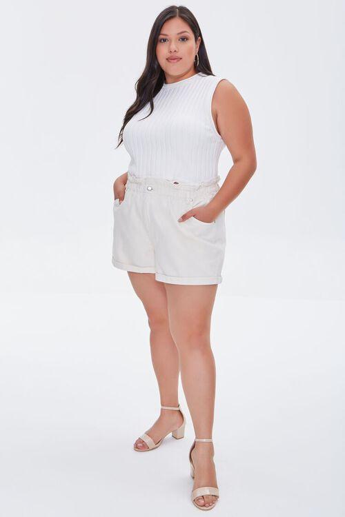 Plus Size Paperbag Denim Shorts, image 5